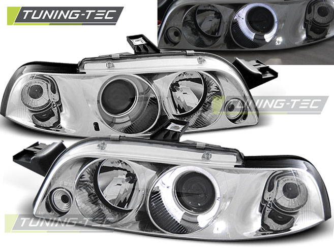 FARI ANTERIORI HEADLIGHTS FIAT PUNTO 1 11.93-09.99 ANGEL EYES CHROME