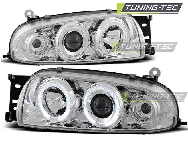 FARI ANTERIORI HEADLIGHTS FORD FIESTA MK4 10.95-08.99 ANGEL EYES CHROME