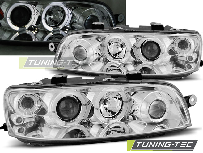 FARI ANTERIORI HEADLIGHTS FIAT PUNTO 2 10.99-06.03 ANGEL EYES CHROME