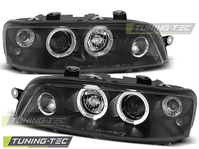 FARI ANTERIORI HEADLIGHTS FIAT PUNTO 2 10.99-06.03 ANGEL EYES BLACK