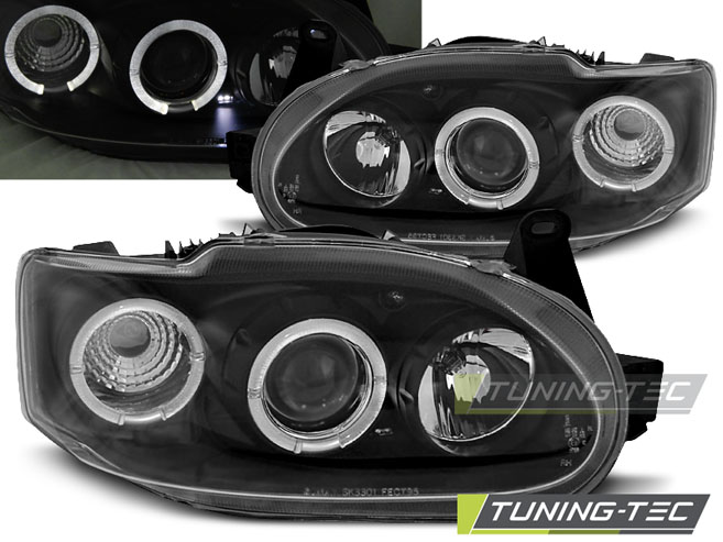 FARI ANTERIORI HEADLIGHTS FORD ESCORT MK7 02.95-00 ANGEL EYES BLACK