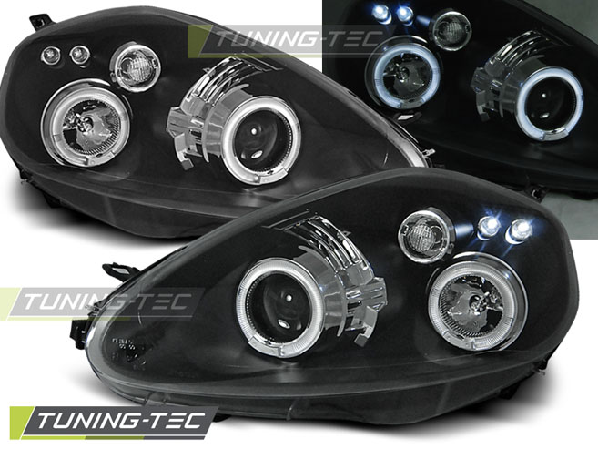 FARI ANTERIORI HEADLIGHTS FIAT GRANDE PUNTO 09.05-08 ANGEL EYES BLACK