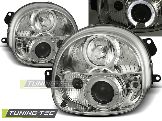 FARI ANTERIORI HEADLIGHTS RENAULT TWINGO 03.93-09.98 ANGEL EYES CHROME
