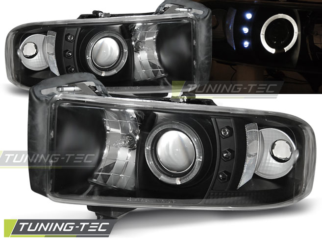 FARI ANTERIORI HEADLIGHTS DODGE RAM 94-01 ANGEL EYES BLACK