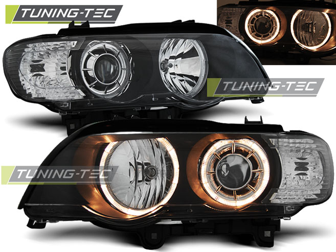 COPPIA FARI ANTERIORI BMW X5 E53 09.99-10.03 ANGEL EYES BLACK XENON LOOK