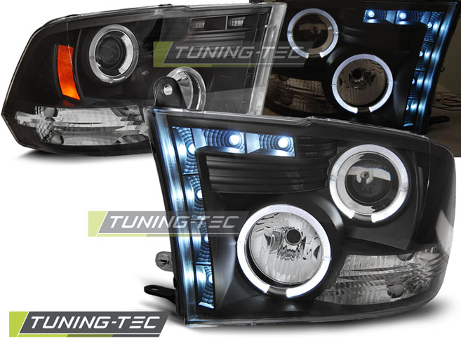 FARI ANTERIORI HEADLIGHTS DODGE RAM 09-11 ANGEL EYES BLACK