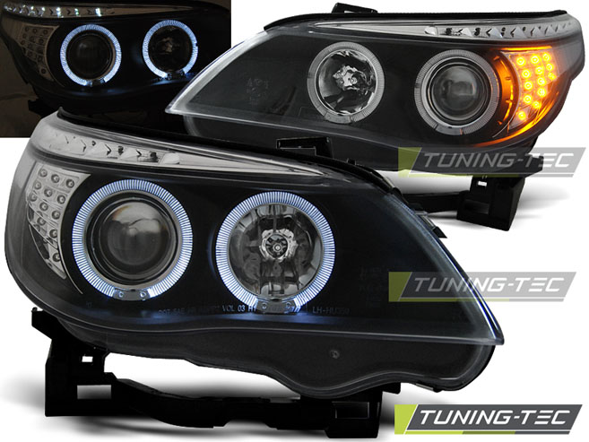 COPPIA FARI ANTERIORI BMW E60/E61 03-07 ANGEL EYES BLACK LED INDIC. LOOK