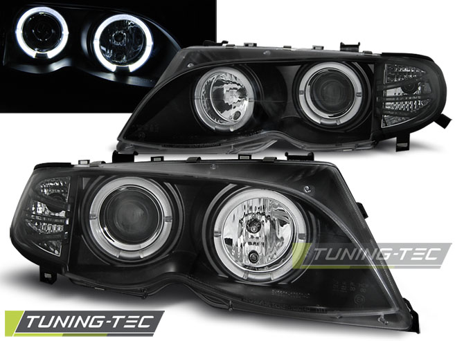 COPPIA FARI ANTERIORI BMW E46 09.01-03.05 ANGEL EYES BLACK