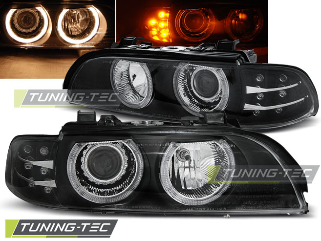 COPPIA FARI ANTERIORI BMW E39 09.95-06.03 ANGEL EYES BLACK LED INDIC. LOOK