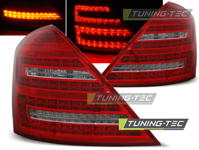 FANALI POSTERIORI MERCEDES W221 S-KLASA 05-09 RED WHITE LED LOOK