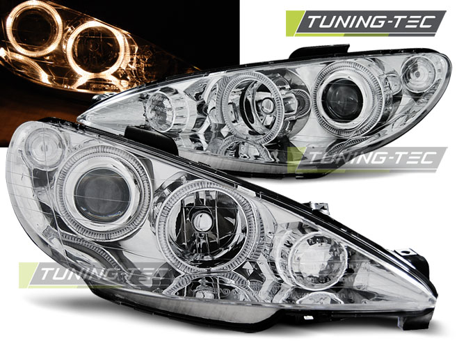FARI ANTERIORI HEADLIGHTS PEUGEOT 206 02-ANGEL EYES CHROME