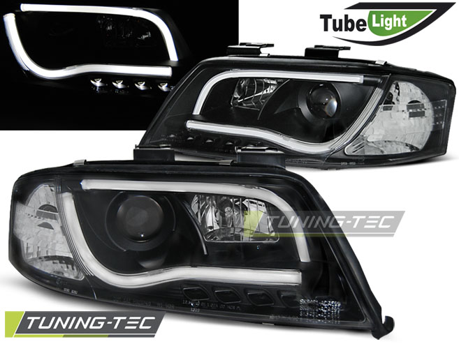 COPPIA FARI ANTERIORI AUDI A6 06.01-05.04 LED TUBE LIGHTS BLACK LOOK