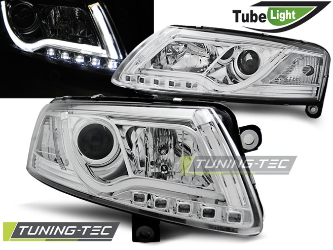 COPPIA FARI ANTERIORI AUDI A6 C6 04.04-08 LED TUBE LIGHTS CHROME LOOK