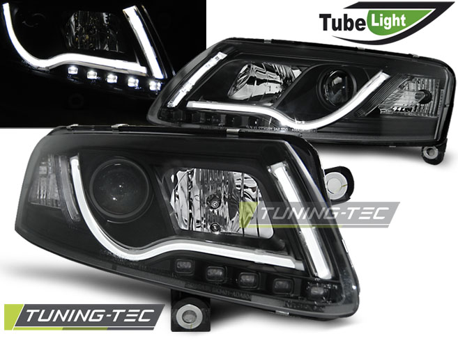 COPPIA FARI ANTERIORI AUDI A6 C6 04.04-08 LED TUBE LIGHTS BLACK LOOK