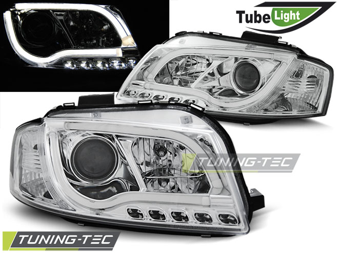 COPPIA FARI ANTERIORI AUDI A3 8P 05.03-03.08 LED TUBE LIGHTS CHROME LOOK