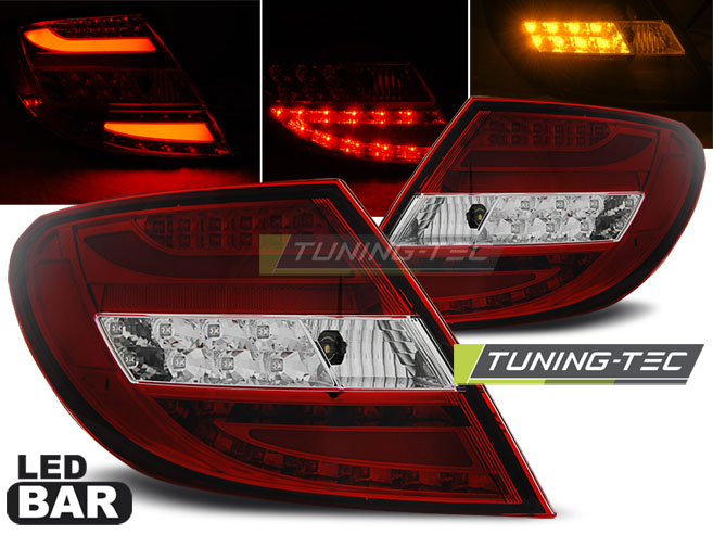 FANALI POSTERIORI MERCEDES C-KLASA W204 SEDAN 07-10 RED WHITE LED BAR LOOK