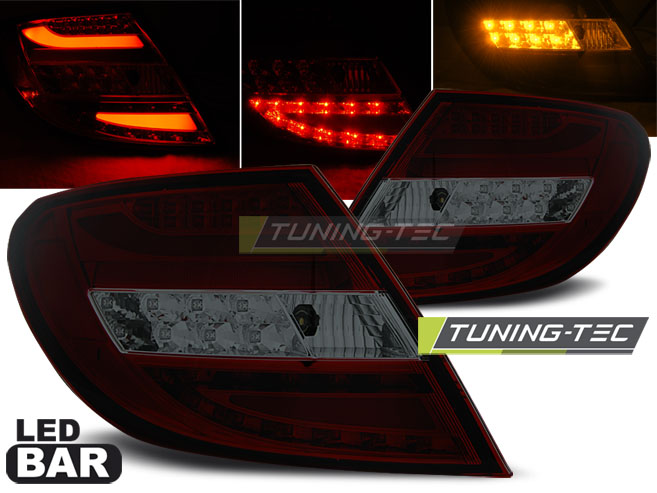FANALI POSTERIORI MERCEDES C-KLASA W204 SEDAN 07-10 RED SMOKE LED BAR LOOK