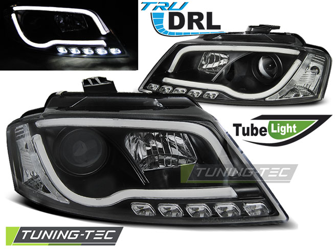 COPPIA FARI ANTERIORI AUDI A3 8P 08-12 BLACK TUBE LIGHT TRU DRL LOOK
