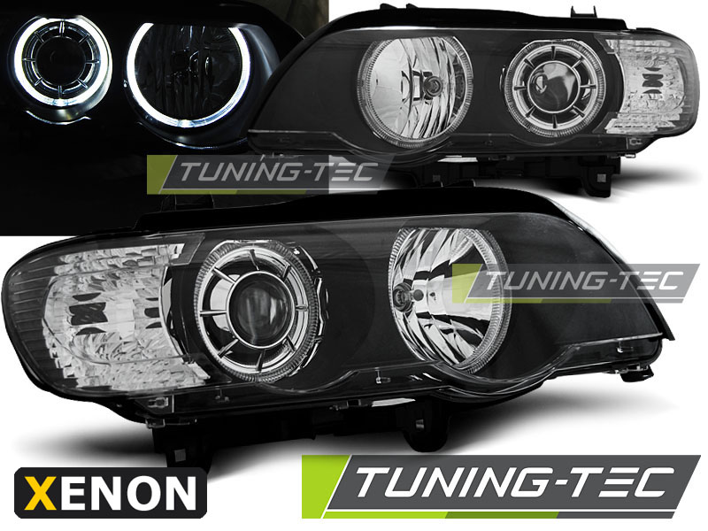 COPPIA FARI ANTERIORI BMW X5 E53 09.99-10.03 LED ANGEL EYES XENON BLACK LOOK