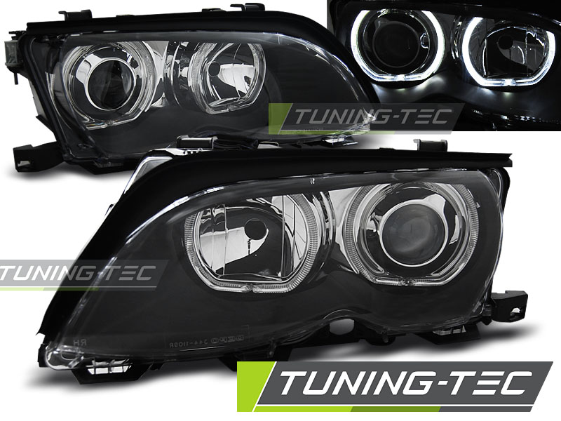 COPPIA FARI ANTERIORI BMW E46 09.01-03.05 ANGEL EYES LED BLACK LOOK
