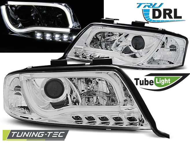 COPPIA FARI ANTERIORI AUDI A6 06.01-05.04 TUBE LIGHTS TRU DRL CHROME LOOK