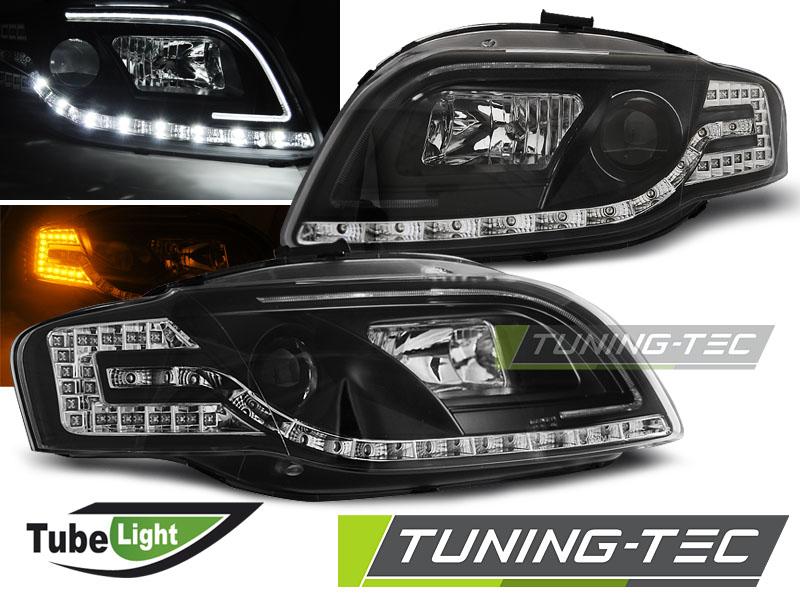 COPPIA FARI ANTERIORI AUDI A4 B7 11.04-03.08 LED TUBE LIGHTS BLACK LOOK