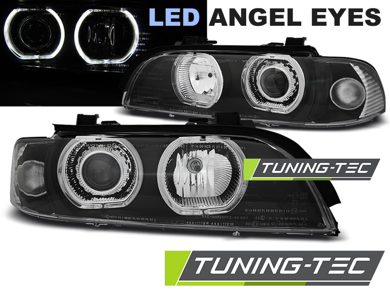 COPPIA FARI ANTERIORI BMW E39 09.95-06.03 ANGEL EYES LED  H7/H7 BLACK LOOK