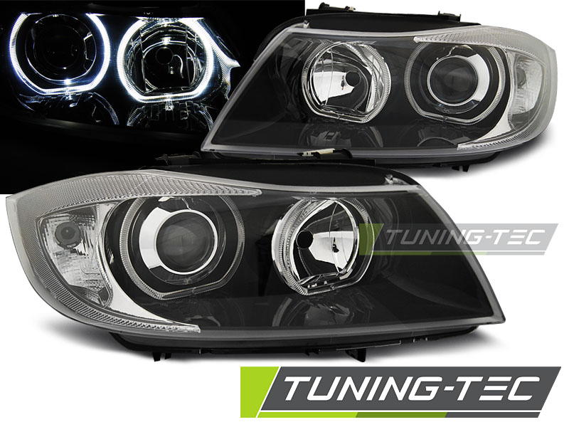 COPPIA FARI ANTERIORI BMW E90/E91 03.05-08.08 LED ANGEL EYES BLACK LOOK