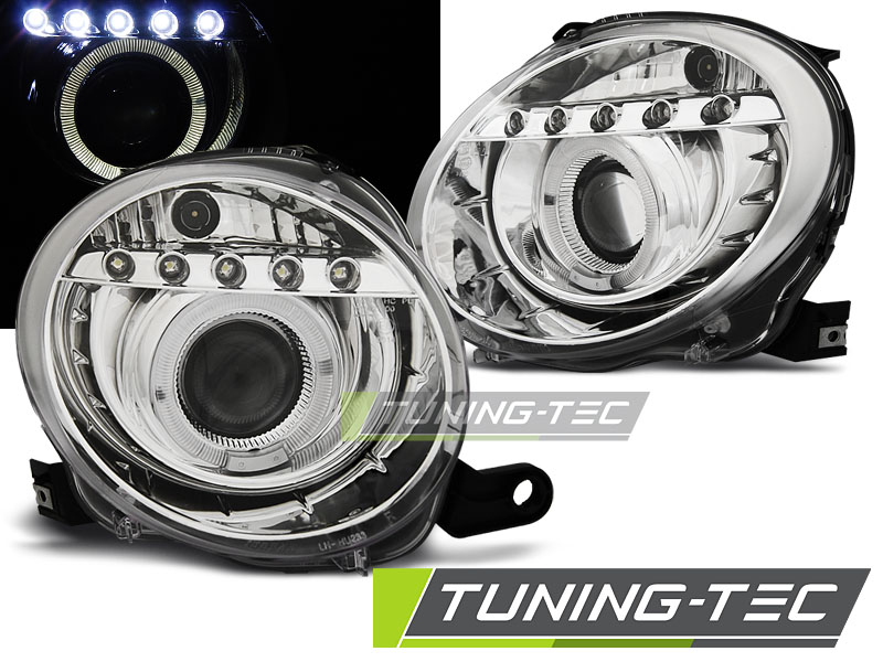 FARI ANTERIORI HEADLIGHTS FIAT 500 07- PROJEKTOR CHROME LED
