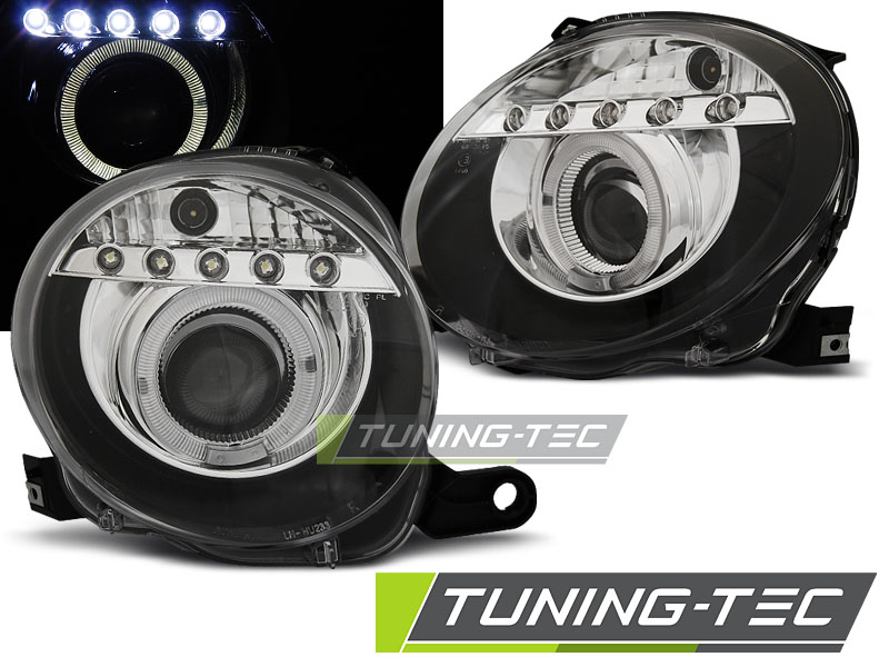 FARI ANTERIORI HEADLIGHTS FIAT 500 07- PROJEKTOR BLACK LED