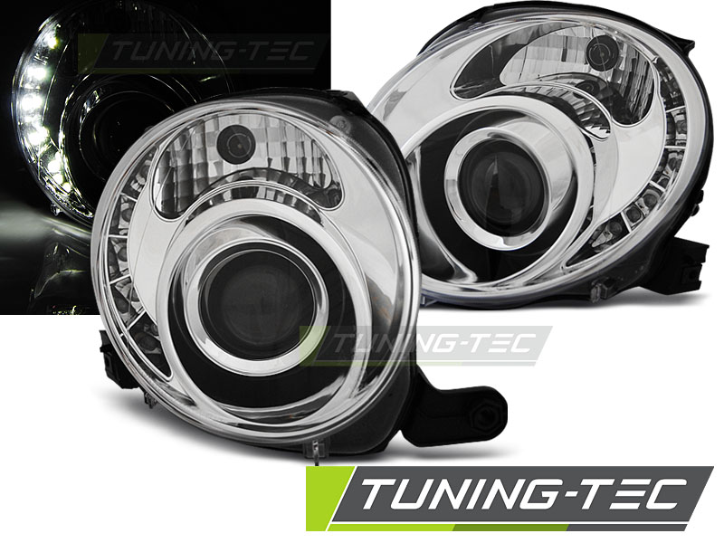 FARI ANTERIORI HEADLIGHTS FIAT 500 07- CHROME LED
