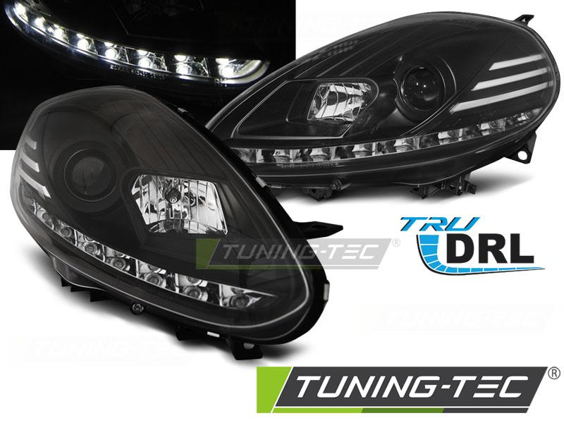 FARI ANTERIORI HEADLIGHTS FIAT PUNTO EVO 10.09-12 BLACK DRL LED