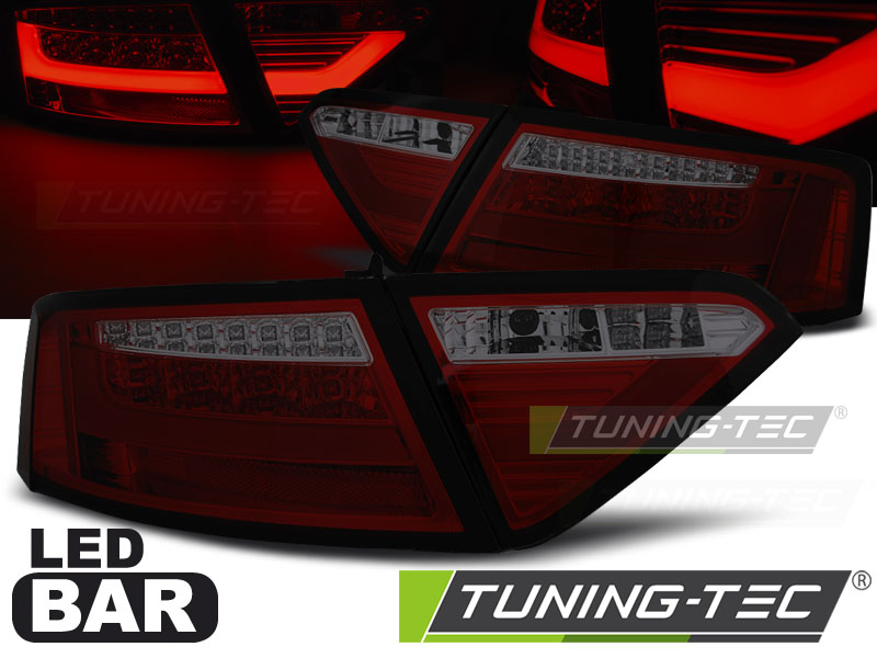 FANALI POSTERIORI AUDI A5 07-06.11 COUPE RED SMOKE LED BAR LOOK