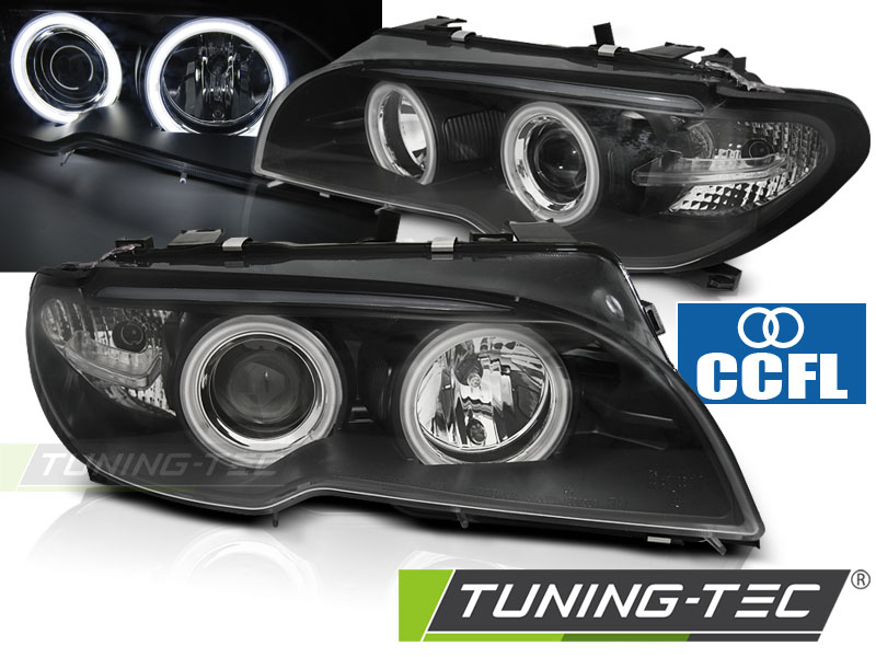 COPPIA FARI ANTERIORI BMW E46 04.03-06 COUPE CABRIO ANGEL EYES CCFL BLACK LOOK